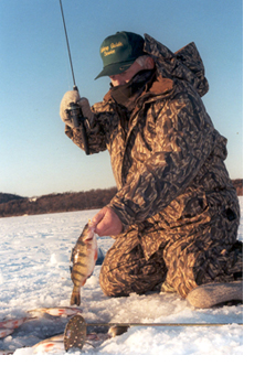 Gary Engnberg ice fishing for perch.