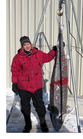 Chris Haedt of Oshkosh with a 179.9# sturgeon that was 79 inches long and speared on February 12, 2012.